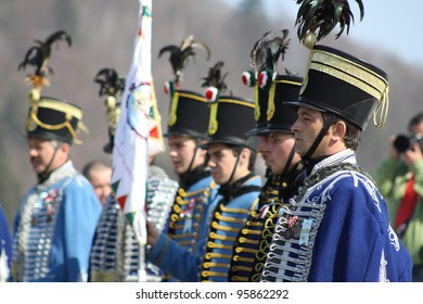 HARGHITA, ROMANIA - MARCH 15: Hungarian cavalryman at commemoration of 163nd anniversary of the Hungarian Revolution on March 15, 2011 in Harghita, Romania