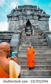 Hari Besar Waisak Magelang, Jawa Tengah-Indonesia. May, 14-2016. Monk and peoples preparing in Mendut Temple to walk to Borobudur temple in Vesak day.