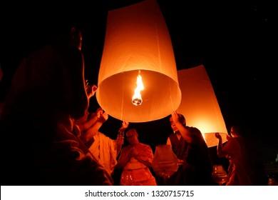 Hari Besar Waisak Magelang, Jawa Tengah-Indonesia. May, 29-2018. , Vesak day in Borobudur temple, buddhist from around the world come to celebrates vesak day in Borobudur temple and light a lampion