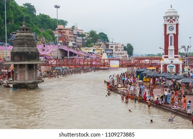 Haridwar, India, 19th August - Hindu Pilgrims gather on the banks of the holy river in prepartion for Ganga Artik on August 10th 2010 at Haridwar, India.