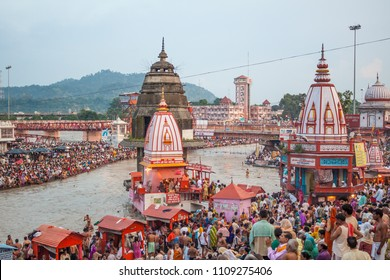 HARIDWAR, INDIA - AUGUST 10 - Hindu Pilgrims gather on the banks of the holy river in prepartion for Ganga Artik on August 10th 2010 at Haridwar, India.