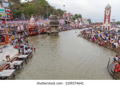 HARIDWAR, INDIA - MAY 12 - Hindu Pilgrims gather on the banks of the holy river in prepartion for Ganga Artik on May 12th 2013 at Haridwar, India.
