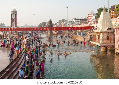 HARIDWAR, INDIA - NOVEMBER 13, 2015: Har Ki Pauri is a famous ghat on the banks of the Ganges in Haridwar, India. This revered place is the major landmark of Haridwar.