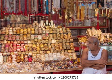 Haridwar, India,10th August - An old man selling bangles in the  city of Haridwar on 10th August 2010