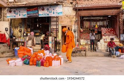 Haridwar, Uttarakhand, India - February 2021 : A view of Street or local market in Haridwar city near Har ki Pauri ghat kumbh mela.