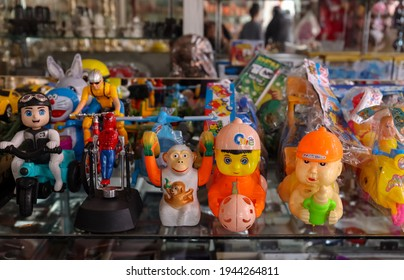 Haridwar, Uttarakhand, India - February 2021 : A view of Street or local market in Haridwar city near Har ki Pauri ghat during Kumbh mela.
