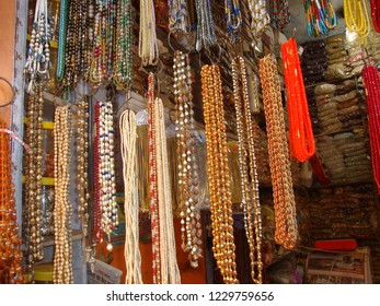 Haridwar, Uttarakhand /India- October 9 2018: different types of astrological necklaces