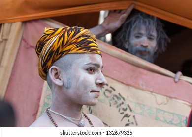 HARIDWAR,INDIA - MARCH 10:Two unidentified Sadhus in shelter camp at the Kumbh Mela on March 10,2010 in Haridwar,India.The festival is one of the world's largest congregations of religious pilgrims.