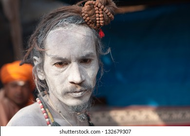 HARIDWAR,INDIA - MARCH 10:Unidentified naga sadhu covered by ashes at the Kumbh Mela on March 10, 2010 in Haridwar,India.The festival is one of the world's largest congregations of religious pilgrims.