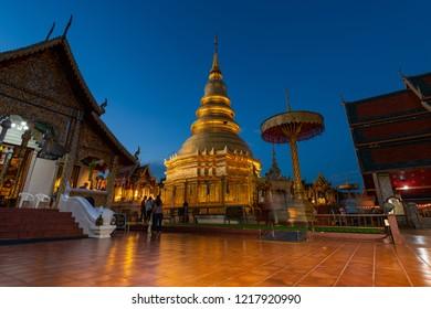 Hariphunchai massive gold stupa of Lamphun province, Thailand
