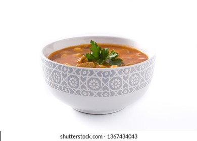 Harira soup in bowl isolated on white background. Typical Moroccan food. Ramadán concept.