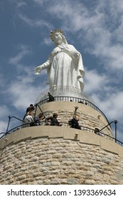 Harissa, Lebanon - April 7 2019: The statue Our Lady of Lebanon in Harissa, Lebanon.