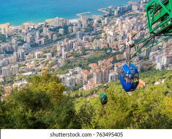HARISSA, LEBANON - NOVEMBER 5, 2017 -  City view from the top of the Cable Car in Jounieh.