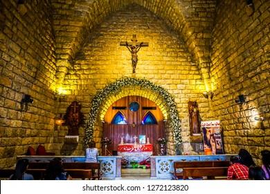 HARISSA, LEBANON - OCTOBER 2017: Our Lady of Lebanon Marian Shrine Pilgrimage Site Chapel Interior View