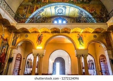 HARISSA, LEBANON - OCTOBER 2017: Our Lady of Lebanon Marian Shrine Pilgrimage Site Saint Paul Basilica Exit Gate
