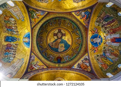 HARISSA, LEBANON - OCTOBER 2017: Our Lady of Lebanon Marian Shrine Pilgrimage Site Saint Paul Basilica God Jesus Christ