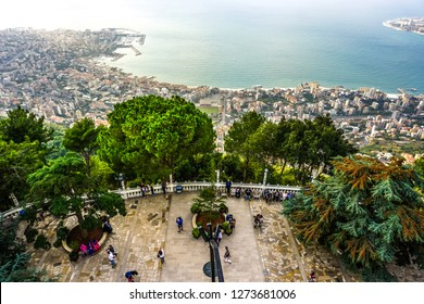 HARISSA, LEBANON - OCTOBER 2017: Our Lady of Lebanon Marian Shrine Pilgrimage Site Viewpoint Jounieh Landscape at Sunset
