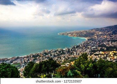 Harissa Our Lady of Lebanon Marian Shrine Pilgrimage Site Jounieh Landscape at Sunset