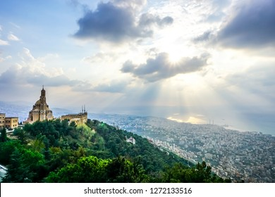 Harissa Our Lady of Lebanon Marian Shrine Pilgrimage Site Saint Paul Basilica Jounieh Landscape at Sunset
