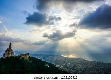 Harissa Our Lady of Lebanon Marian Shrine Pilgrimage Site Saint Paul Basilica Jounieh Landscape at Sunset