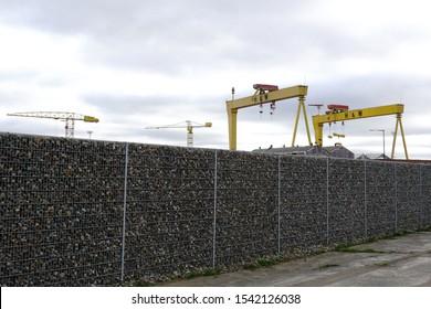 Harland and Wolf Shipyard cranes. October 2018, Belfast, Northern Ireland