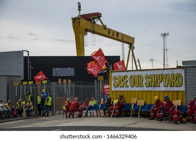 Harland and Wolff workers protest, Belfast,  30th July 2019: Workers from the world famous Harland and Wolff shipyard, where the Titanic was built, protest against the potential closure of the yard