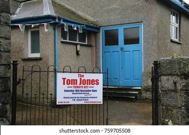 Harlech, Gwynedd, Wales. 18 November 2017.  Tom Jones tribute act sign outside village hall.