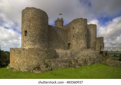 Harlech, Wales, UK, July 8 2016 - Harlech castle in Wales was build in the 13th century by Edward an English monarch to watch over the Welsh in the Snowdonian mountains, Image shot from Public land
