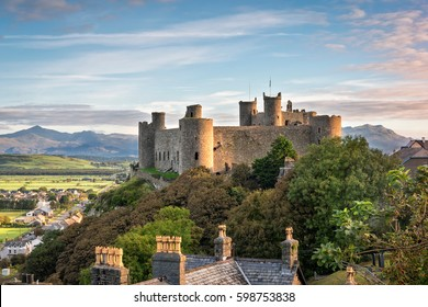 Harlech, Wales, United Kingdom - September 20, 2016: View of Harlech Castle in North Wales at sunrise