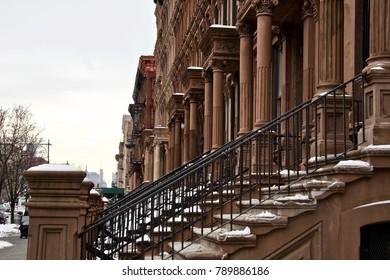 Harlem Brownstones in Winter. Harlem, New York. USA