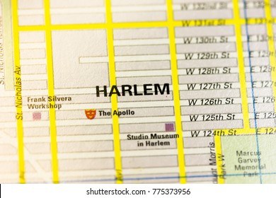 Harlem district on the map, New York