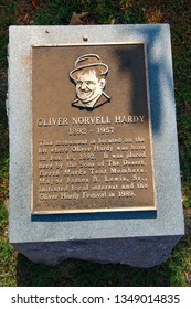 Harlem, Georgia, USA - 02.07.2016: Oliver Norvell Hardy birthplace memorial. Oliver Hardy was a famous comic actor and part of Laurel and Hardy. He was born in Harlem, Georgia 1892