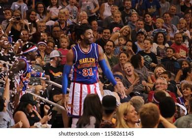 Harlem Globetrotters at Talking Stick Resort Arena in Phoenix Arizona USA August 11,2018.