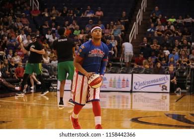 The Harlem Globetrotters at Talking Stick Resort Arena in Phoenix Arizona USA August 11,2018.