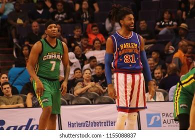 The Harlem Globetrotters vs the Harlem Globetrotters at Talking Stick Resort Arena in Phoenix Arizona USA August 11,2018.