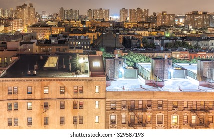 Harlem neighborhood at night, New York City, USA.