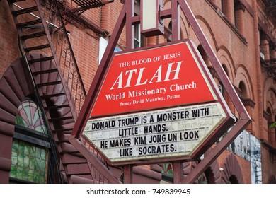 HARLEM, NEW YORK. 5 NOV 2017. Sign outside ATLAH World Missionary Church