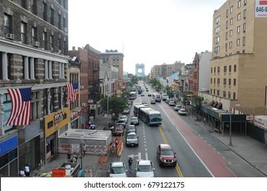 HARLEM, NEW YORK CITY- JULY 2017:  125th street in Harlem New York.