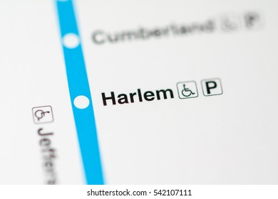 Harlem Station. Chicago Metro map.