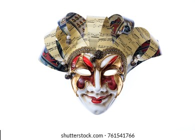 Harlequin handmade Venetian mask isolated on white background, front view
