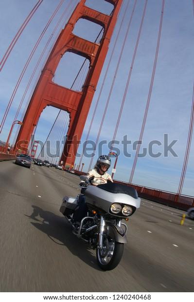 Harley Davidson San Francisco >> Harleydavidson Motorcycle Crossing Golden Gate Bridge Stock