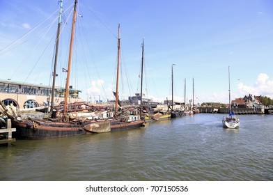 Harlingen, The Netherlands - August 6, 2017: The harbor of a town called Harlingen in the Netherlands