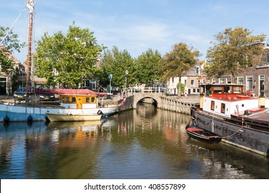 HARLINGEN, NETHERLANDS - OCT 2, 2015: Canal Noordijs in historic old town of Harlingen, Friesland, Netherlands