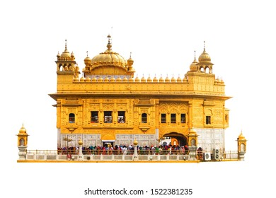 The Harmandir Sahib isolated on white background. It is also know as Darbar Sahib or Golden Temple, and it is located Amritsar, Punjab, India