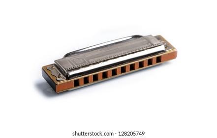 Harmonica isolated on white background