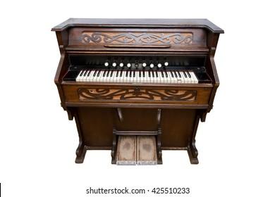 Harmonium. Pump organ, isolated on white. Status old