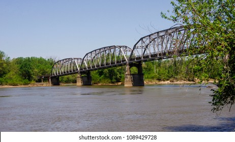 Harmony, IN—May 7, 2018; truss style toll bridge over the Wabash River that connects illinois and Indiana