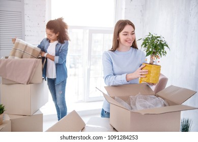 In harmony. Pleasant female students unpacking their belongings together and smiling, having moved into a shared apartment together
