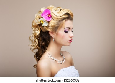 Harmony. Pleasure. Profile of Young Lady with Jewelry - Earrings & Necklace - Shutterstock ID 132660332