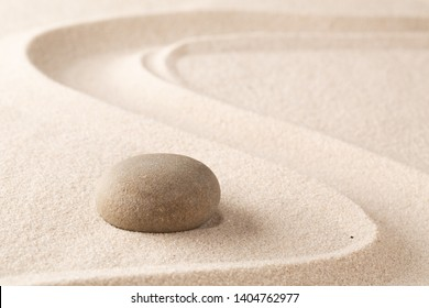 harmony purity and spirituality background, zen meditation stone and sand garden